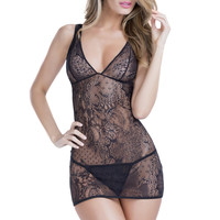 Black Lace Strappy Back 2pc. Sexy Lingerie Chemise Set