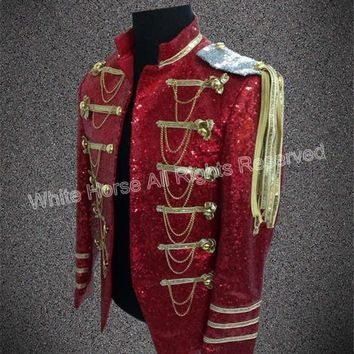Trendy Bling Bling Men Blazer Mens burgundy blazer sequin jacket Club Dresses Men Costumes Performance Jacket Man AT_94_13