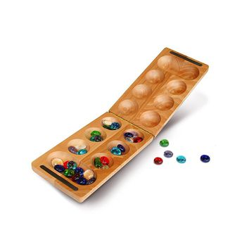 WE Games Folding Mancala - Solid Wood Board & Glass Stones 18 inches