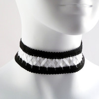 Black and White Lace Corset Choker lolita satin goth by Arthlin
