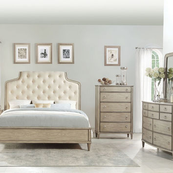 Acme 27530Q 5 pc Wynsor antique champagne finish wood and fabric queen bedroom set