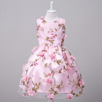 Hot Summer Flower Embroidery Voile Kids Infant Princess Children Dress For Gilrs Pageant Wedding Party Girls Princess Clothes