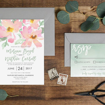 Flamingo Pink and Pistachio Green Watercolor Wedding Invitation Set