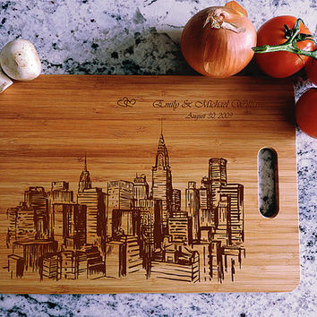 kikb532 Personalized Cutting Board New York city wooden wedding gift wedding anniversary