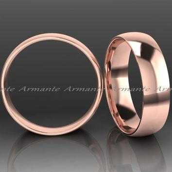 Hand Made 14K Solid Rose Gold Wedding Ring, 5.00mm Wide