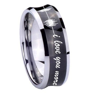 10MM Concave Sound Wave i love you more more Tungsten Carbide Black IP Two Tone Men's Ring