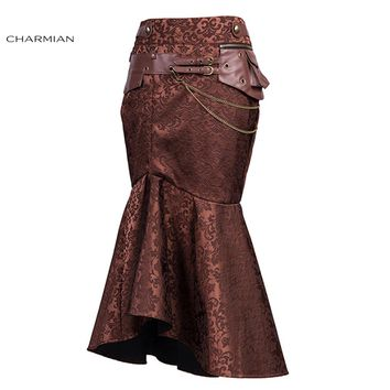 Charmian Vintage Victorian Goth Steampunk Skirts for Women Brown Pouch Chain Sexy Slim Evening Party Long Fishtail Skirt
