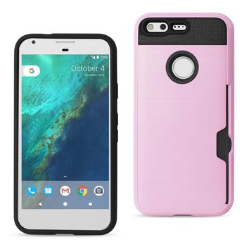 New Google Pixel Slim Armor Hybrid Case With Card Holder In Rose Gold