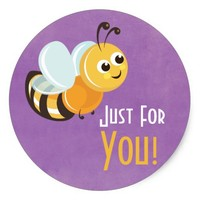 Cute Purple Yellow Bee Gift Sticker