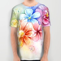 Flower Power Watercolor Flower Rainbow All Over Print Shirt by Olechka