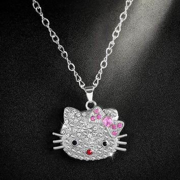 Cute Hello Kitty Jewelry Silver Chain Necklace Long Rhinestone Crystal Cat Pendant Necklaces Long Necklace Women Gifts nke-n18