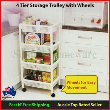 4 Tier Storage Wheel Trolley Basket Rack - Kitchen Makeup Beauty Hair Salon
