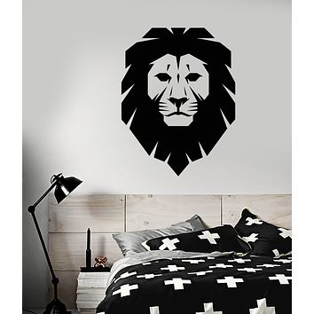Vinyl Wall Decal Cartoon Polygonal Lion King Head Stickers (3472ig)