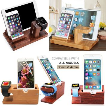 Wood Bamboo Charge Dock Station Stand Holder For Apple Watch iPhone 8 i Pad Pro