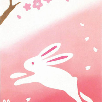 Japanese Tenugui Towel Cotton Fabric, Sakura & Rabbit Animal Traditional Art Design, Hand Dyed Fabric, Wall Art Hanging, Gift Wrapping, k021
