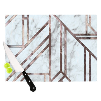 "KESS Original ""Dark Marble Mosaic"" Digital Geometric Cutting Board"
