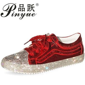 2018 Spring Fashion Brand Lady Shoes Women Sneaker Rhinestone Silver Girl Crystal Bling Cross-tied Lace Up Glitter Red
