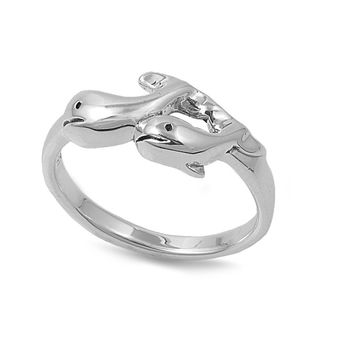 925 Sterling Silver Baby Dolphins 6MM Ring
