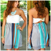 Andes Jade & Blue Striped Strapless Dress