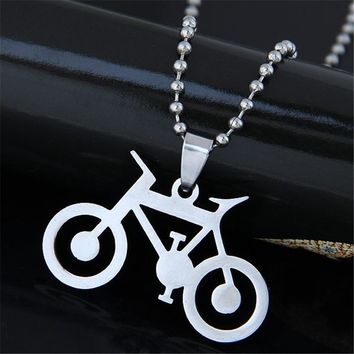 Bike Pendant Stainless Steel Necklaces Cycling Steampunk Necklace Women&Men Charms Body Bicycle Sports Necklace Jewelry Gifts