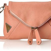 Wild Pair Womens Blush Crossbody Sling Metal Plates Handbag Faux Leather Purse