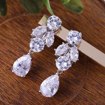 Luxury AAA Clear Cubic Zirconia CZ Silver Color Dangle Clip-On Earrings Sparkly Zircon Flower Vintage Earring for Prom Jewellery