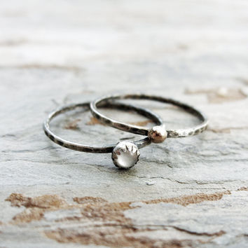 Mother of Pearl Micro Stacking Rings Set: Sun and Moon Bands in Hammered, Antiqued Sterling Silver