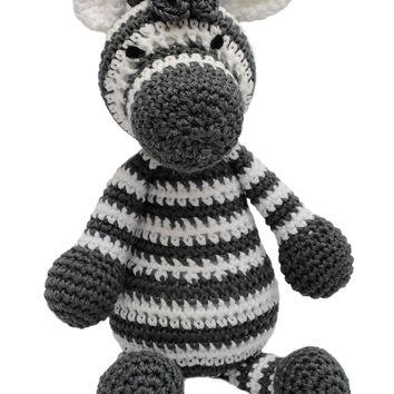 White-Dark grey Zebra Handmade Amigurumi Stuffed Toy Knit Crochet Doll VAC