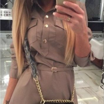 Khaki Button-Up Long Sleeve Pocket Dress with Belt