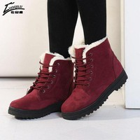 ICIKYE Women Boots 2017 Winter Boots Women Warm Fur Ankle Boots For Women Warm Winter Shoes B