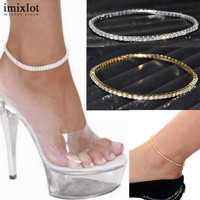 One Row Clear Crystal Tennis Silver Gold Stretch Anklet Foot Chain Leg Bracelet Rhinestone Ankle Bracelet tornozeleira femininas