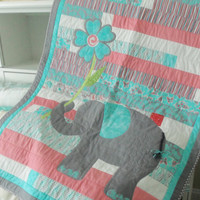 Handmade Baby Quilt, Elephant Applique, Jelly Roll Race Quilt, Baby Blanket, Stroller Quilt, Teal Gray Coral, Quiltsy Handmade