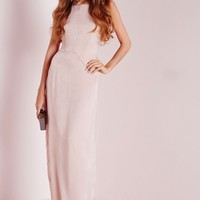Missguided - Silky Floaty Maxi Dress Nude
