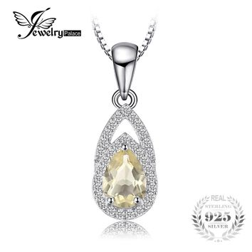 JewelryPalace Elegant 0.9ct Natural Lemon Quartz Pendant For Woman 925 Sterling Silver Brand Fine Jewelry Not Include A Chain