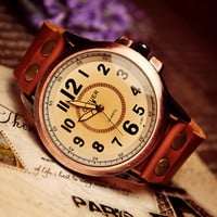 Handmade Leather Mens Wrist Watch (WAT0020-WHITE)