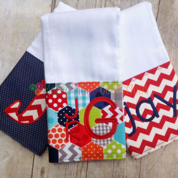 Boy burp cloth set - Applique and Monogram baby gift