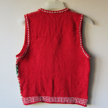 Ugly Christmas Sweater Vest! Red & Green Scandinavian Kitschy, Tacky Festive Holiday Style! Hipster Style Button Up Party Sweater!