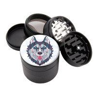 "Native Wolf - 2.25"" Premium Black Herb Grinder - Custom Designed"