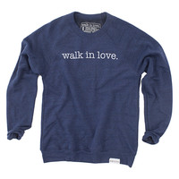 walk in love. Navy Crewneck Sweatshirt