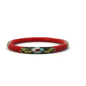 Cinnabar Cloisonne Bangle Bracelet, Chinese Export, Vintage Jewelry, Red Bangle, Vintage Bracelet, Estate Jewelry, Chinese Bracelet