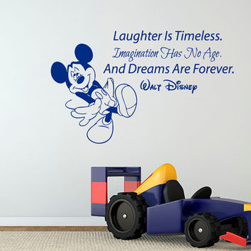 Wall Decal Quote Laughter Is Timeless Mickey Mouse Sticker Vinyl Decals Art Mural Home Bedroom Decor Interior Design Boy Nursery Decor KI37