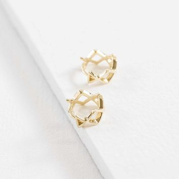Criss Cross Mini 14K Hoops