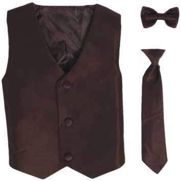 Brown Vest & Tie Set Poly Silk 2 Pc with Choice of Necktie or Bow Tie (Boys 3 months - size 14)