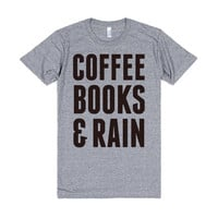 Coffee Books & Rain-Female Athletic Grey T-Shirt L