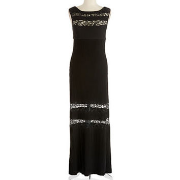 Calvin Klein Lace Insert Ribbed Gown