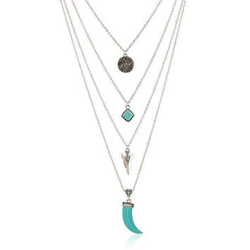 ICIK7HQ OPAL FERRIE - Vintage Tibetan Multi Layer Turquoise Silver Pendant Necklace Accessorie Jewelry