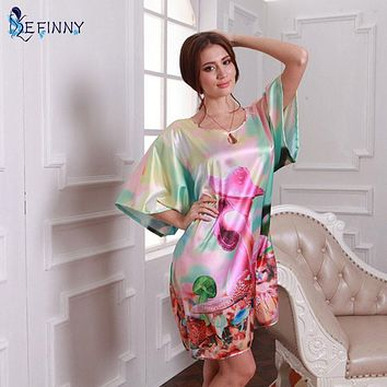 High Quality Nightgowns Sleepshirts 2016 Faux Silk   home Bathrobe female Women Sleepwear Dressing Gown
