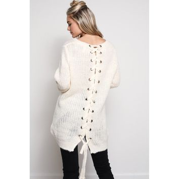 White Tunic Lace Up Back Sweater