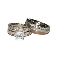His Her Wedding Ring Set Women's Sterling Silver Men's Stainless Steel