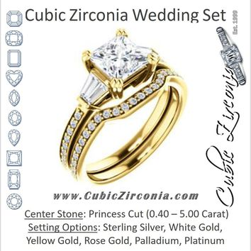 CZ Wedding Set, featuring The Hazel Rae engagement ring (Customizable Princess Cut Design with Quad Baguette Accents and Pavé Band)